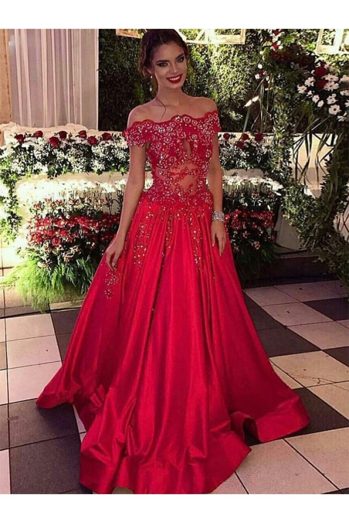 A-Line Beaded Lace Off-the-Shoulder Long Prom Dress Formal Evening Dresses 601690