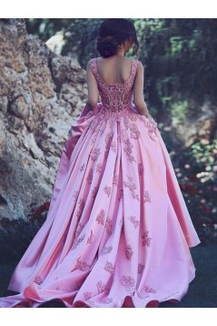 Ball Gown Lace Satin Long Prom Dress Formal Evening Dresses 601691