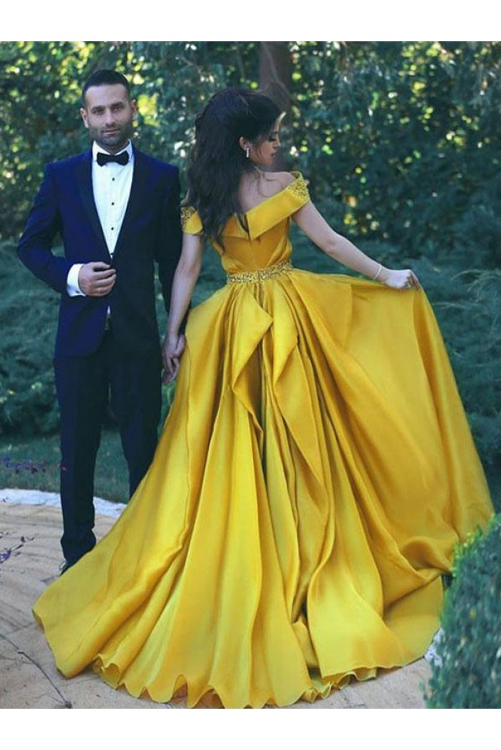 A-Line Beaded Off-the-Shoulder Long Prom Dress Formal Evening Dresses 601692