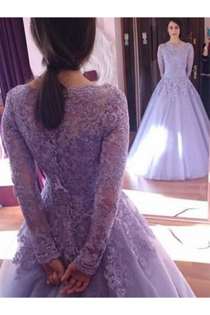 A-Line Long Sleeves Lace Long Prom Dress Formal Evening Dresses 601693