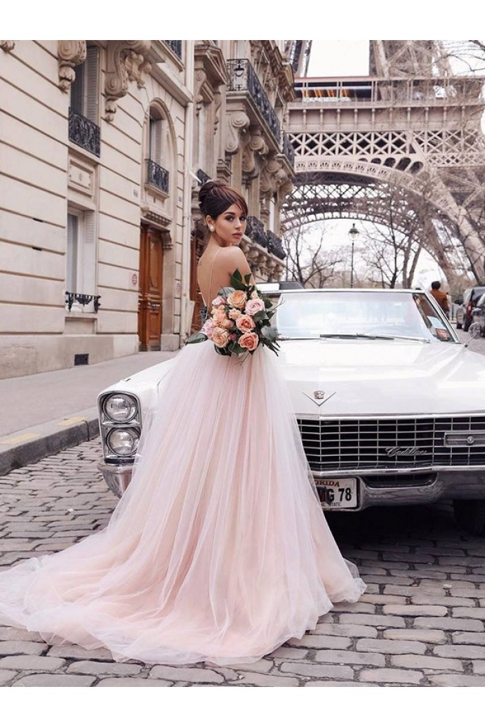 A-Line Lace Tulle Long Prom Dress Formal Evening Dresses 601698
