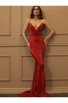 Mermaid Sequins V-Neck Long Prom Dress Formal Evening Dresses 601700