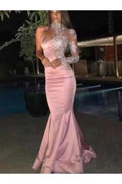 Mermaid One Sleeves Long Pink Lace Prom Dress Formal Evening Dresses 601710