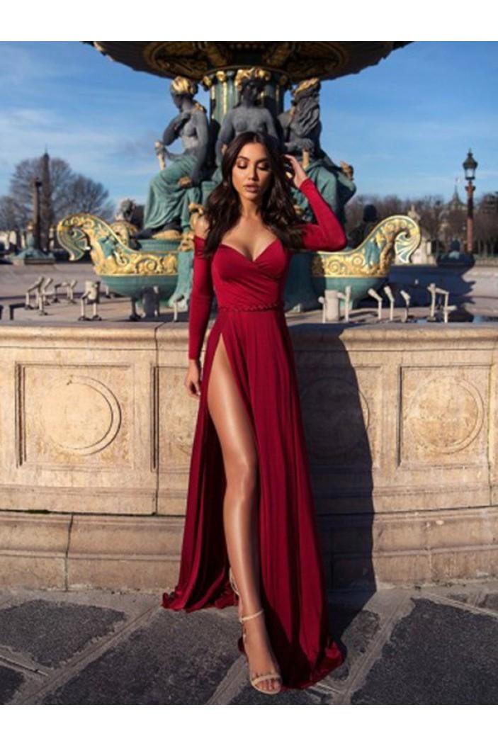A-Line Long Sleeves V-Neck Long Prom Dress Formal Evening Dresses 601711