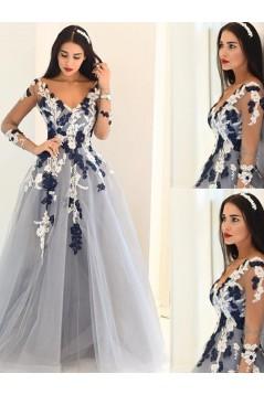 A-Line Long Sleeves V-Neck Long Prom Dress Formal Evening Dresses 601712