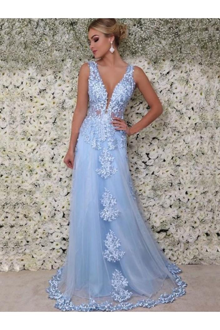 A-Line Lace V-Neck Long Prom Dress Formal Evening Dresses 601714