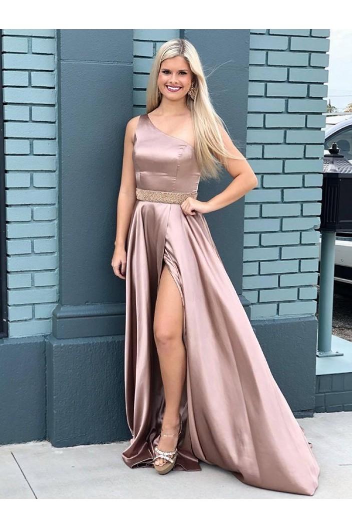 A-Line One-Shoulder Long Prom Dress Formal Evening Dresses 601715