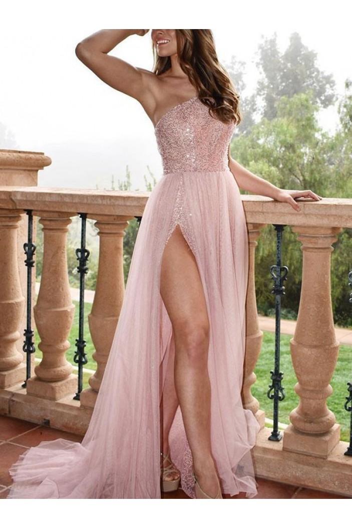 A-Line One-Shoulder Long Prom Dress Formal Evening Dresses 601716