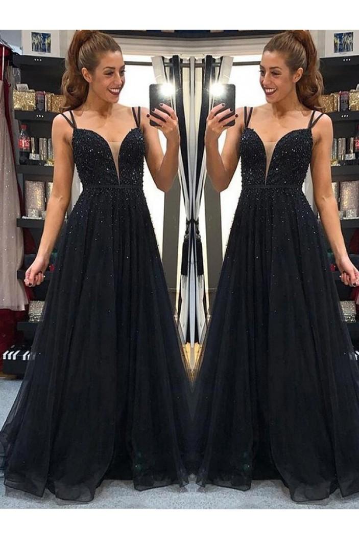 A-Line Beaded Long Black Prom Dress Formal Evening Dresses 601722