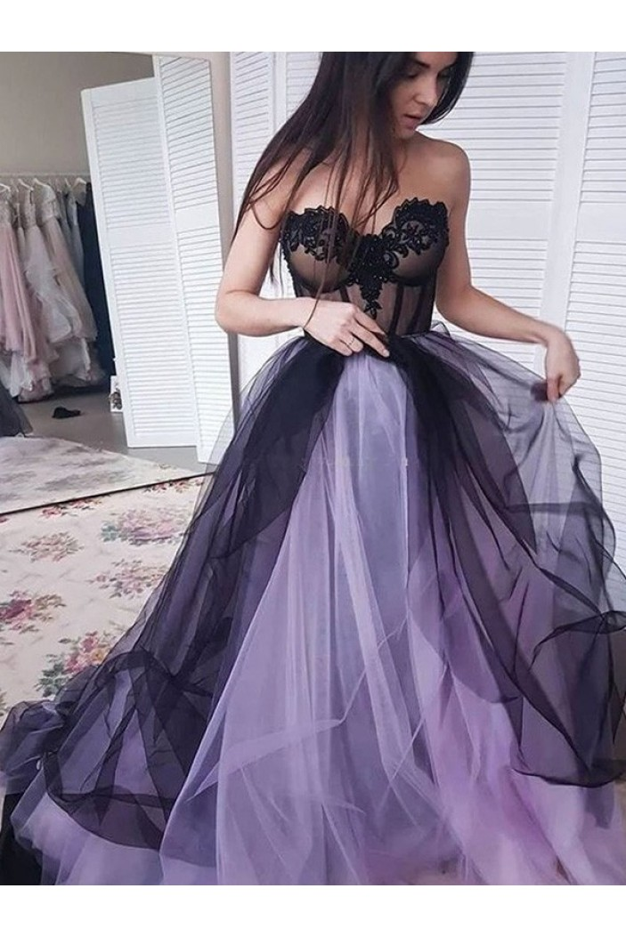 A-Line Sweetheart Lace Tulle Long Prom Dress Formal Evening Dresses 601732