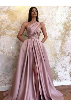A-Line One-Shoulder Long Prom Dress Formal Evening Dresses 601737