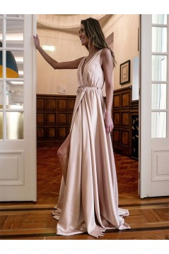 A-Line V-Neck Long Prom Dress Formal Evening Dresses 601740