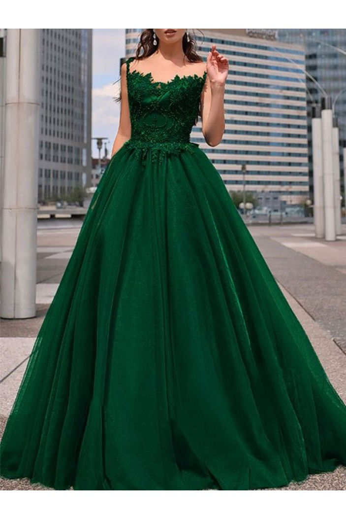 A-Line Lace Long Prom Dress Formal Evening Dresses 601741