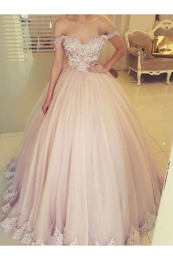 Ball Gown Lace Off-the-Shoulder Long Prom Dress Formal Evening Dresses 601744