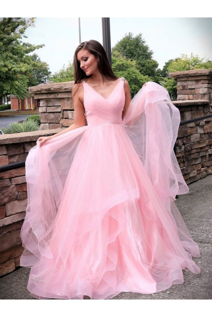 A-Line Long Pink Tulle Prom Dress Formal Evening Dresses 601748