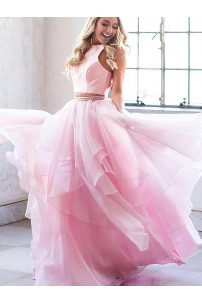 A-Line Two Pieces Long Pink Prom Dress Formal Evening Dresses 601750
