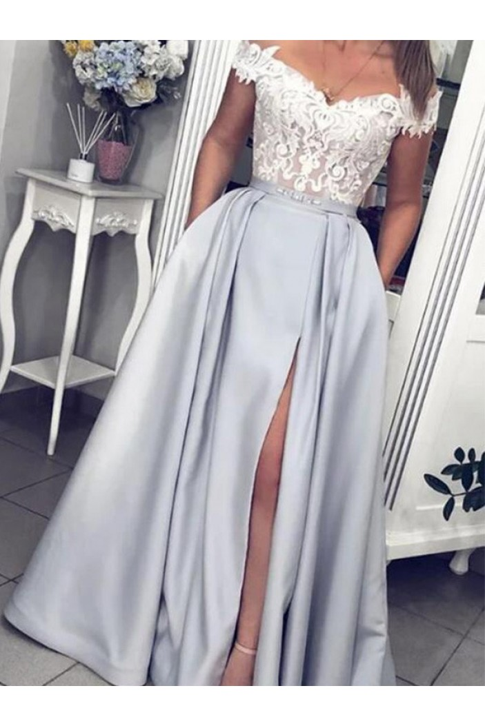 A-Line Lace Off-the-Shoulder Long Prom Dress Formal Evening Dresses 601754