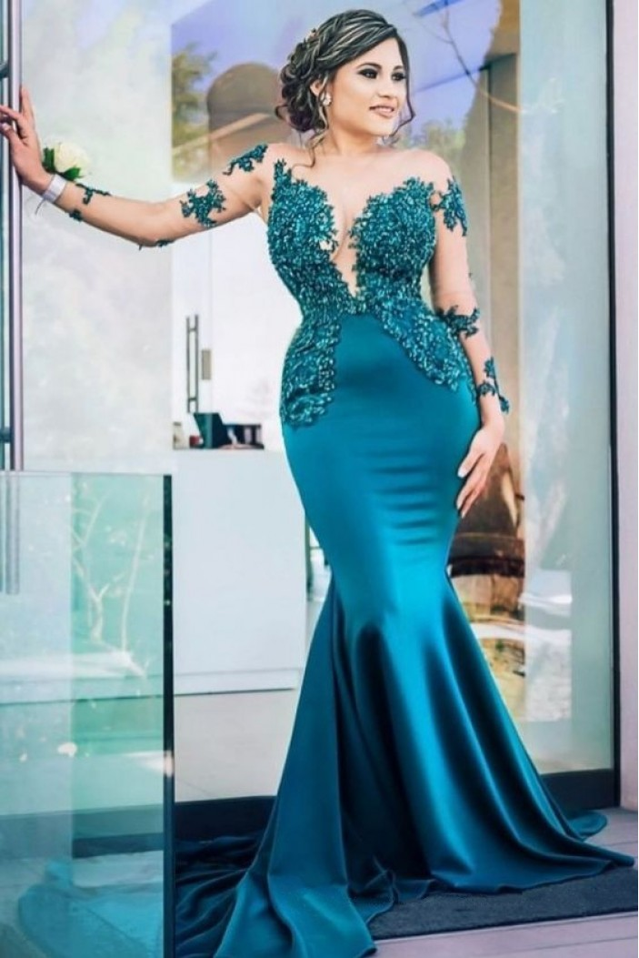 Mermaid Long Sleeves Lace Prom Dress Formal Evening Dresses 601760