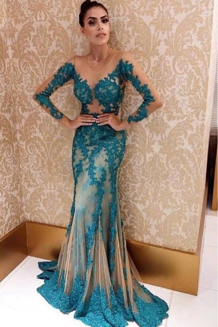 Mermaid Lace Long Sleeves Prom Dress Formal Evening Dresses 601764