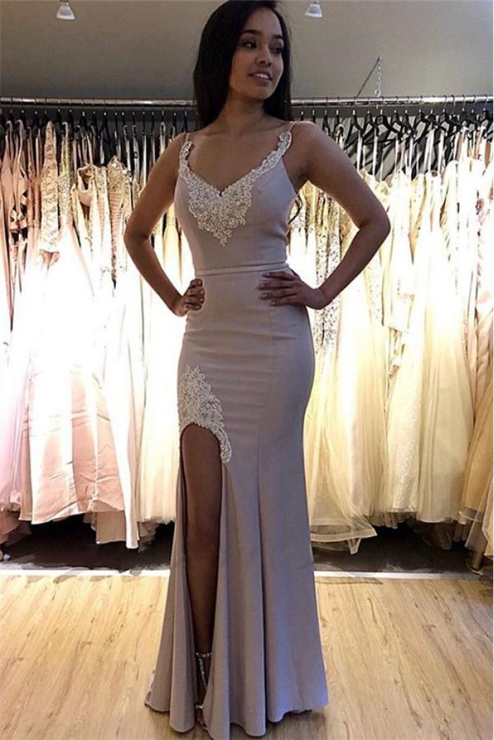 Mermaid Lace V-Neck Long Prom Dress Formal Evening Dresses 601767