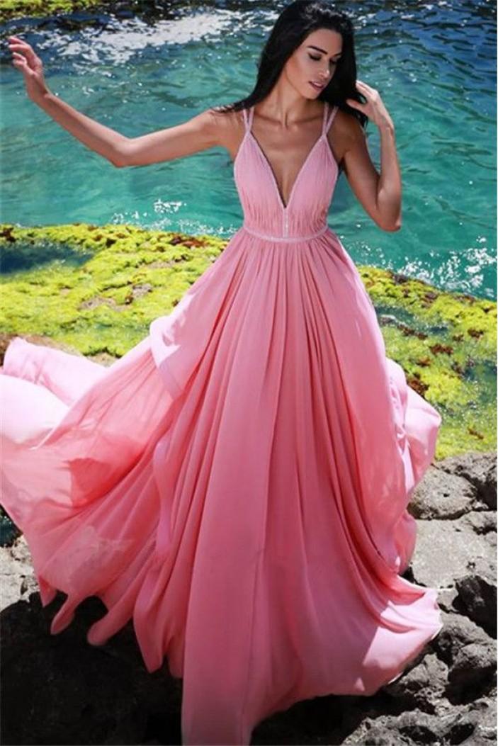 A-Line V-Neck Chiffon Long Prom Dress Formal Evening Dresses 601768