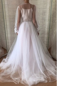 A-Line Lace Tulle Long Sleeves Prom Dress Formal Evening Dresses 601769