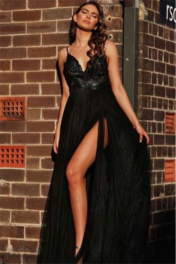 A-Line Long Black Lace Tulle V-Neck Long Prom Dress Formal Evening Dresses 601771