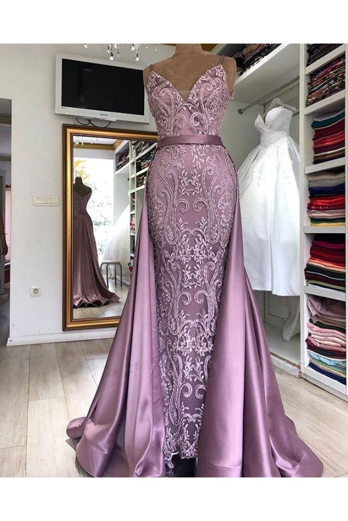 Mermaid Lace Satin Long Prom Dress Formal Evening Dresses 601772
