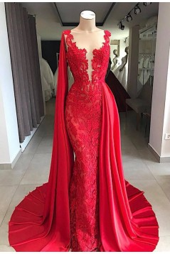 Mermaid Lace V-Neck Long Prom Dress Formal Evening Dresses 601774