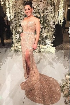 Mermaid Sweetheart Sequins Long Prom Dress Formal Evening Dresses 601781
