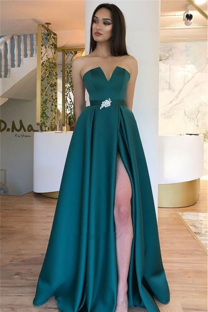 A-Line Beaded Long Prom Dress Formal Evening Dresses 601784