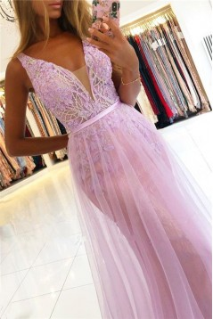 Long Pink Lace Tulle Prom Dress Formal Evening Dresses 601787