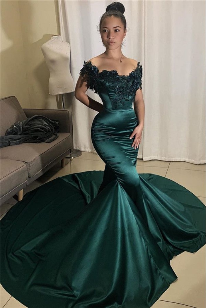 Mermaid Off-the-Shoulder Lace Long Prom Dress Formal Evening Dresses 601788