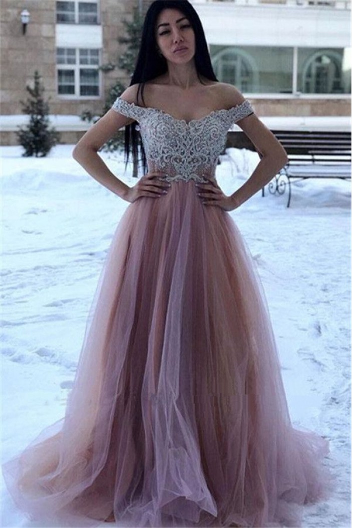 A-Line Beaded Lace Tulle Off-the-Shoulder Long Prom Dress Formal Evening Dresses 601790
