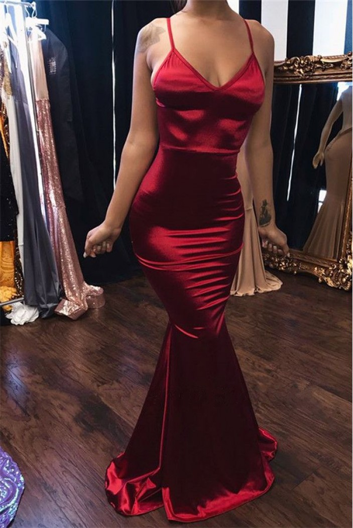 Mermaid V-Neck Long Prom Dress Formal Evening Dresses 601791