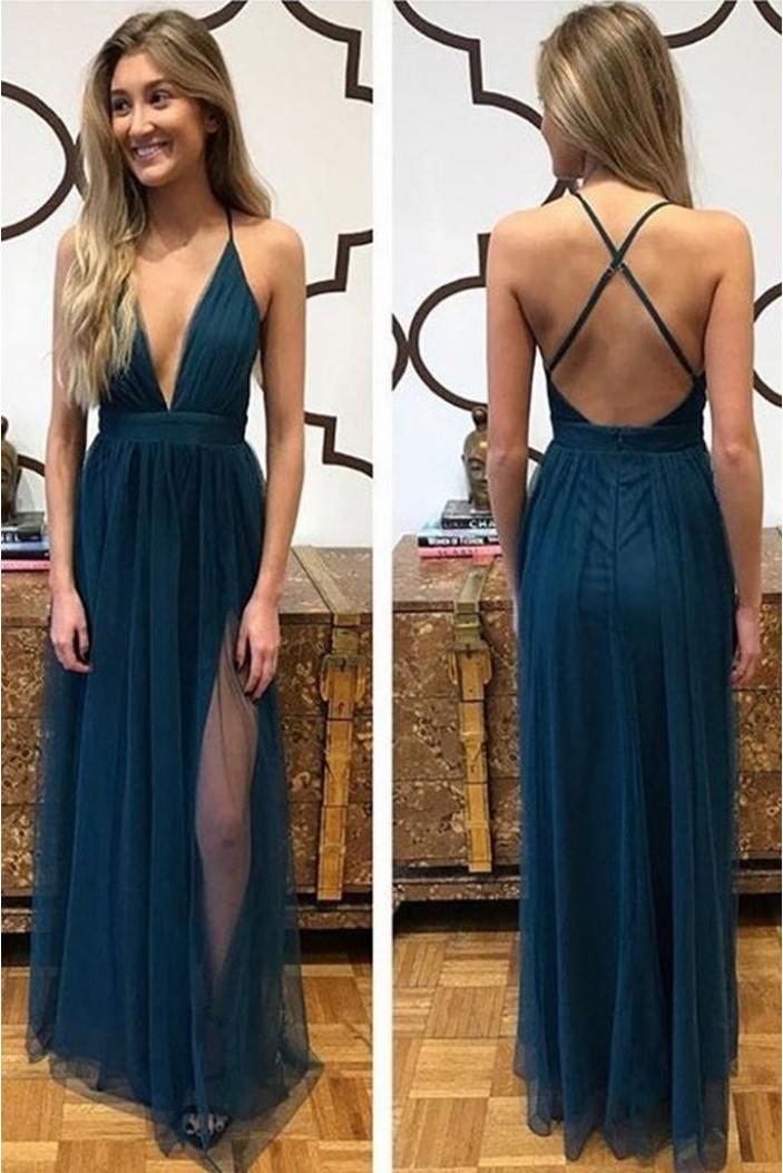 A-Line Tulle V-Neck Long Prom Dress Formal Evening Dresses 601797