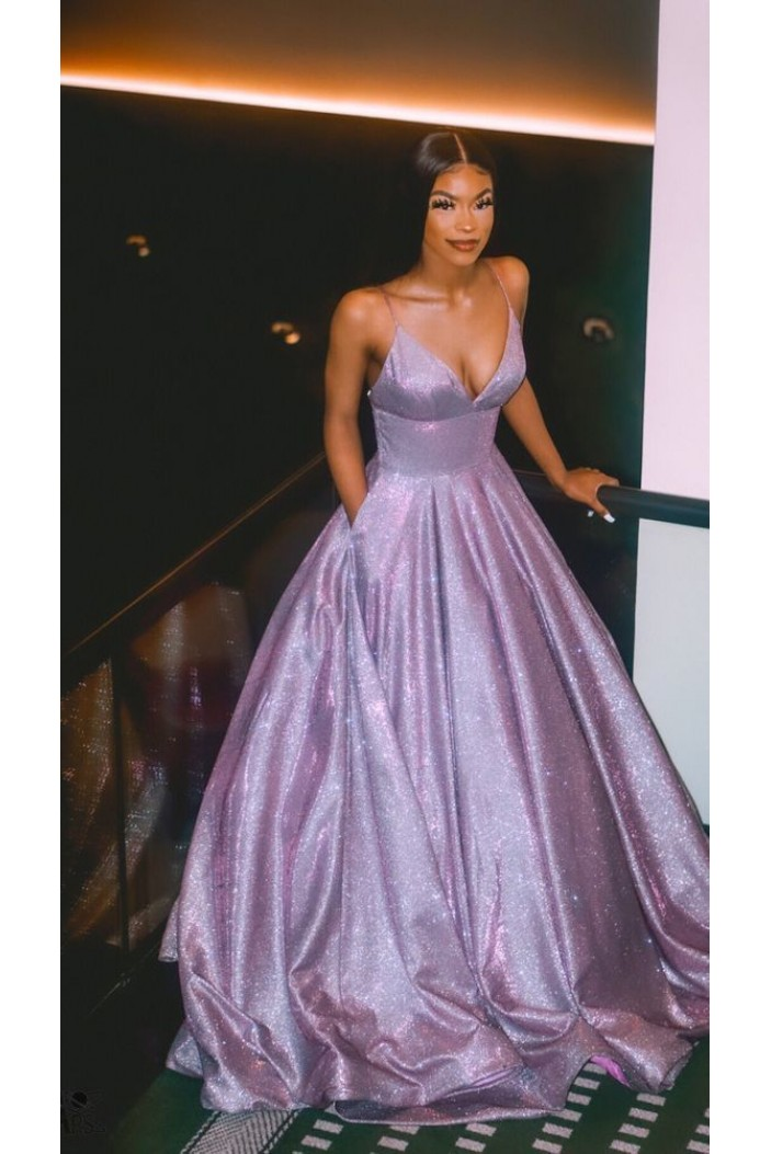 A-Line V-Neck Sparkle Long Prom Dress Formal Evening Dresses 601799