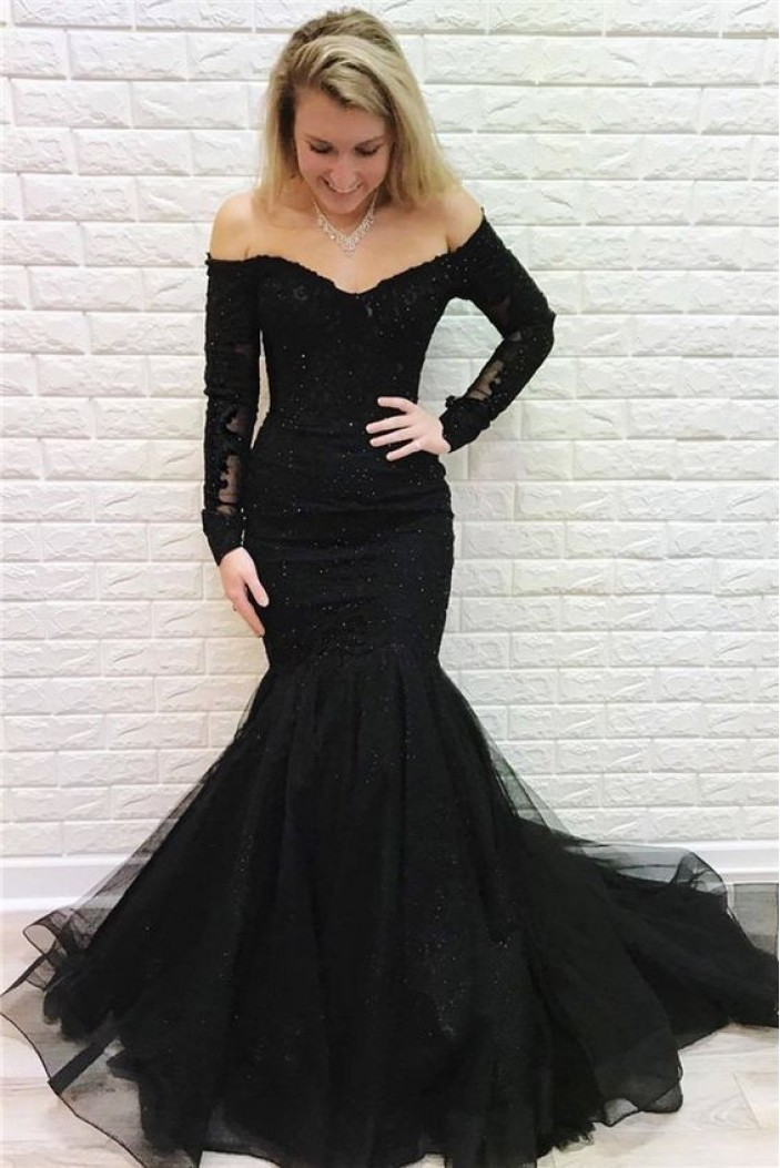 Mermaid Lace Long Black Prom Dress Formal Evening Dresses 601802