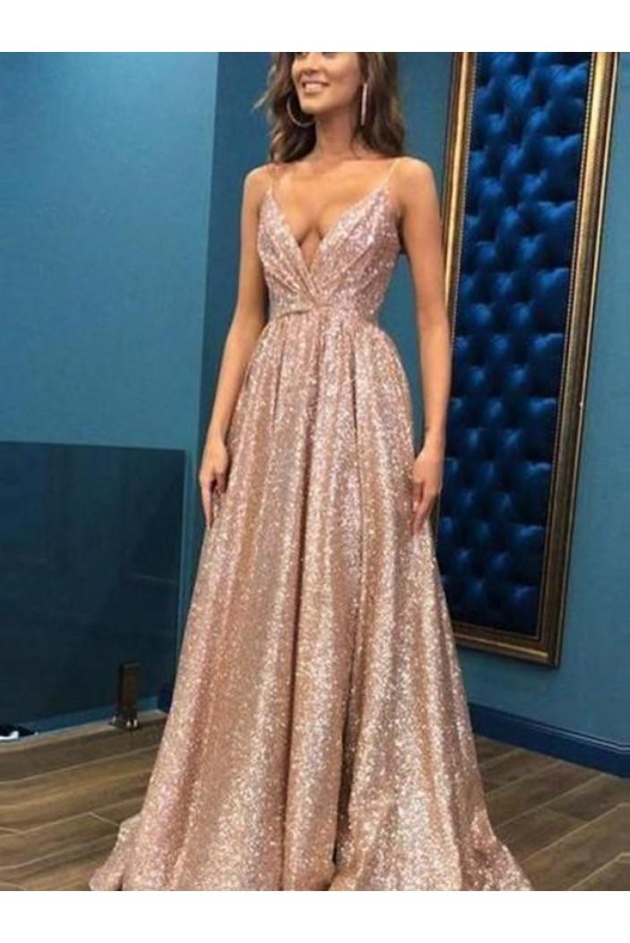 A-Line V-Neck Sequins Long Prom Dress Formal Evening Dresses 601803