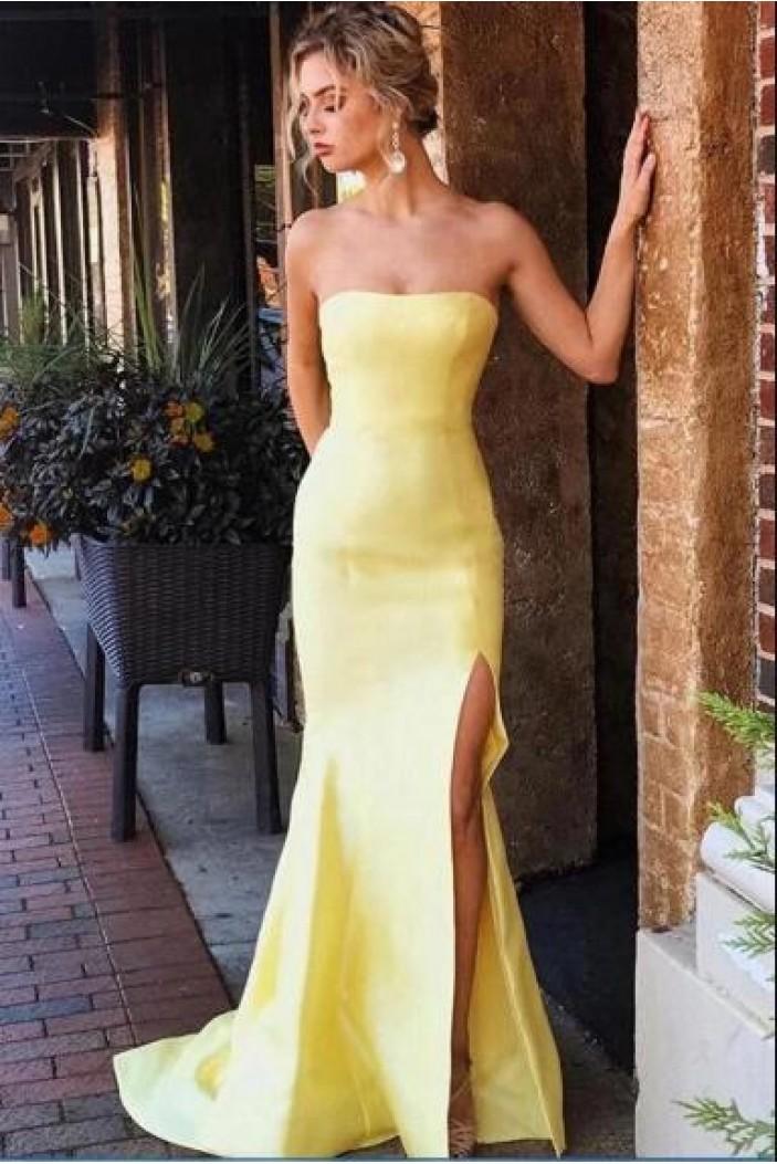 Long Yellow Strapless Prom Dress Formal Evening Dresses 601807