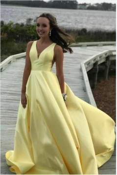 A-Line V-Neck Long Prom Dress Formal Evening Dresses 601809