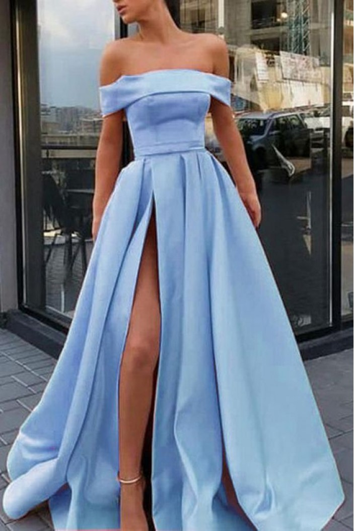 A-Line Off-the-Shoulder Long Prom Dress Formal Evening Dresses 601811