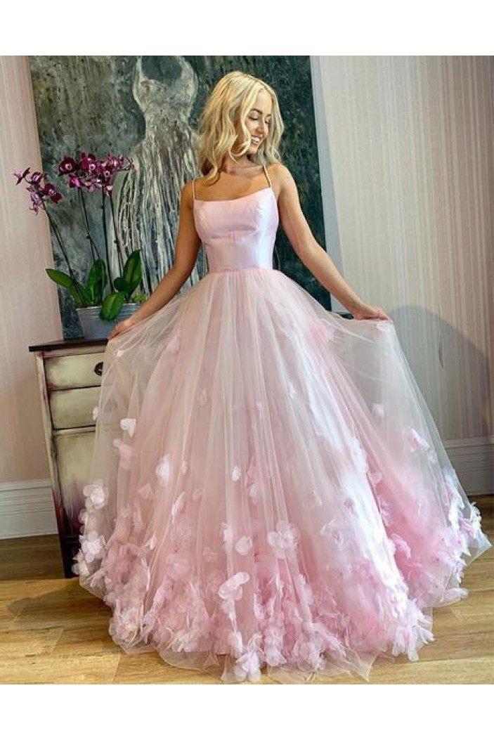 A-Line Long Pink Prom Dress Formal Evening Dresses 601812