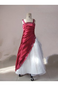 A-Line Beaded Straps Flower Girl Dresses F010014