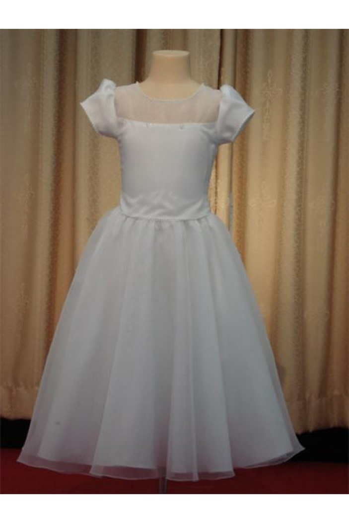 A-Line Short Sleeve Flower Girl Dresses F010023