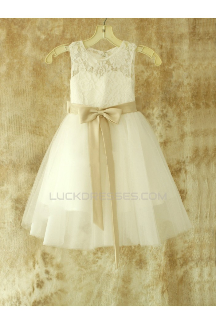 Lace and Tulle Bowknot Flower Girl Dresses F010025