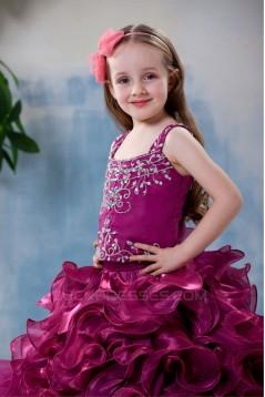 Ball Gown Tea Length Straps Beaded Flower Girl Dresses 2050012