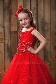 A-Line Beaded Spaghetti Strap Flower Girl Dresses 2050016