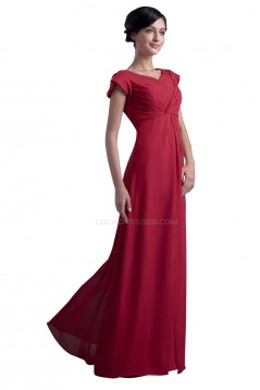 A-Line Cap-Sleeve Long Chiffon Mother of the Bride Dresses M010002