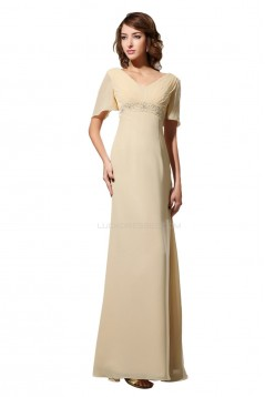 A-Line V-Neck Long Chiffon Mother of the Bride Dresses M010005